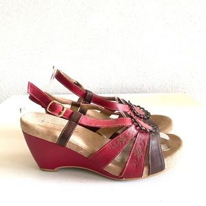 Andrea red and brown wedge ankle strap sandal-8.5